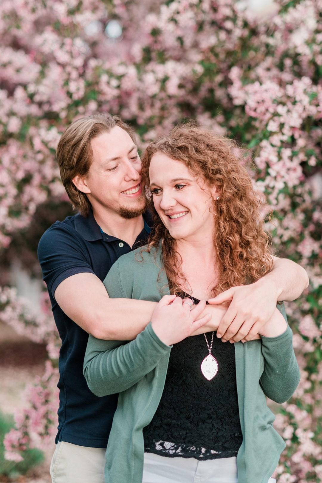 Sam & Cloie's spring blossoms engagement photos in Palisade | captured by Amanda Matilda Photography - Palisade engagement photographer