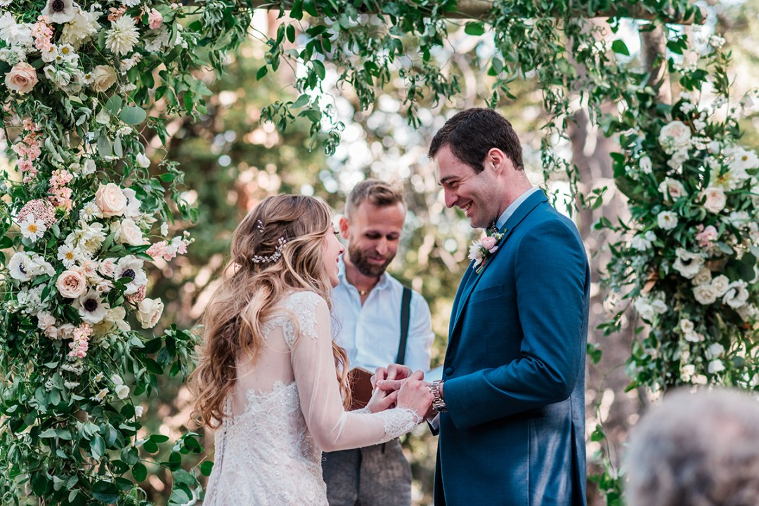 William & Amy exchange rings at their Lake Irwin Wedding in Crested Butte