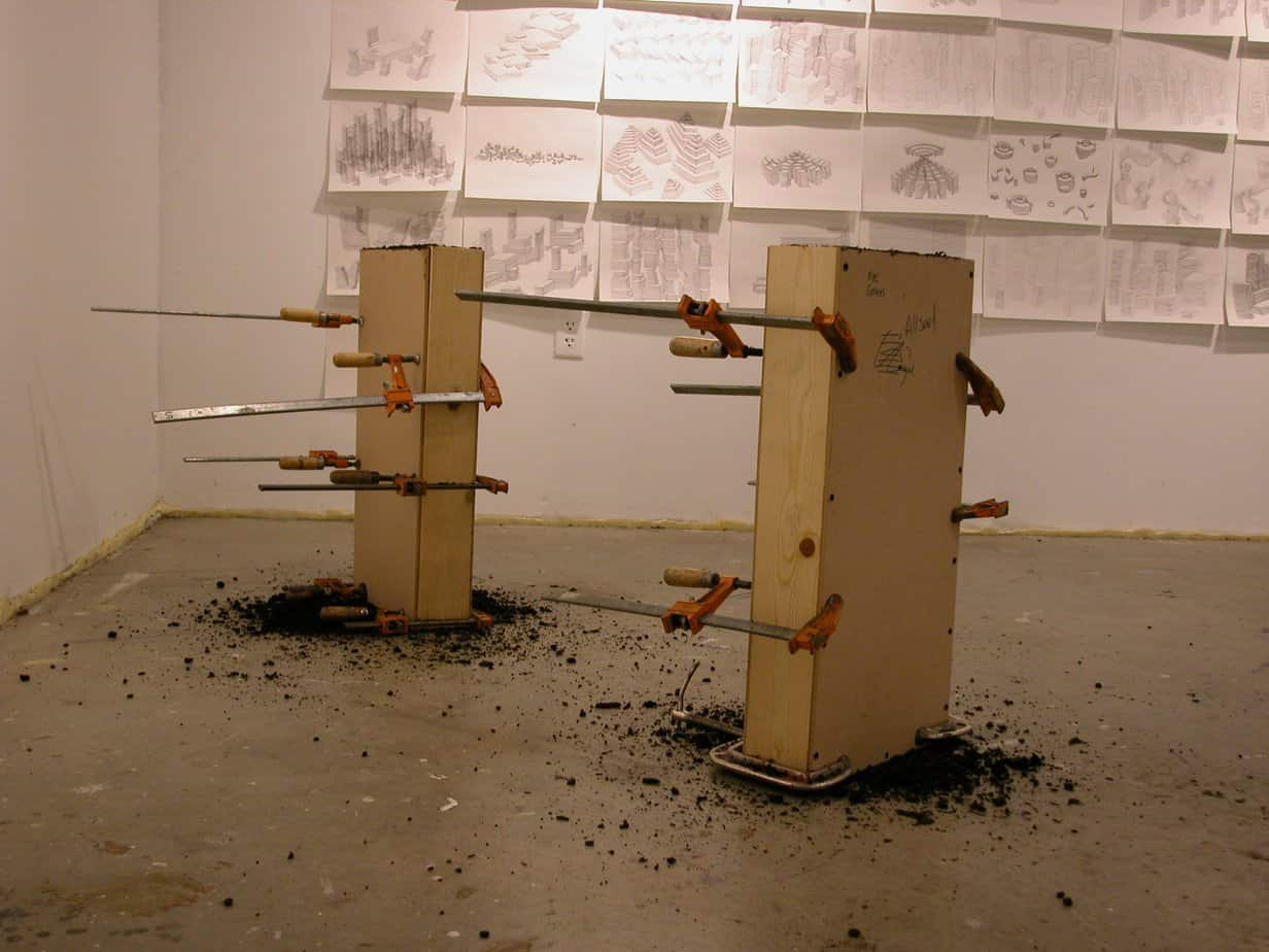 Wood forms clamped together, in studio.