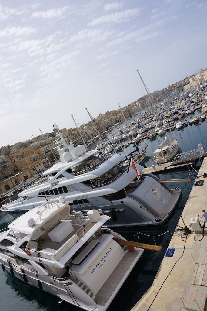 Yachts in the Grand Harbour in Malta