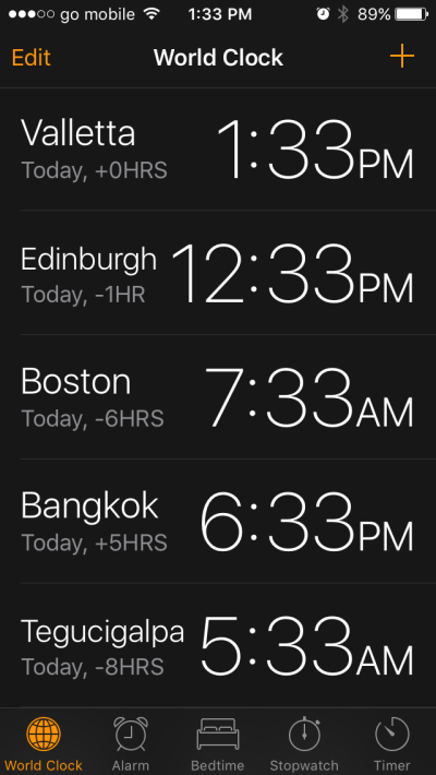 world clock time zones