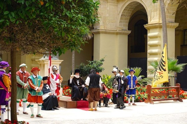 Volunteer actors at the In Guardia Parade in Valletta