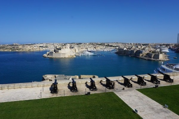 The Saluting Battery in the Upper Barrakka Gardens of Valletta Malta. Looking across the Grand Harbour to the Three Cities below.