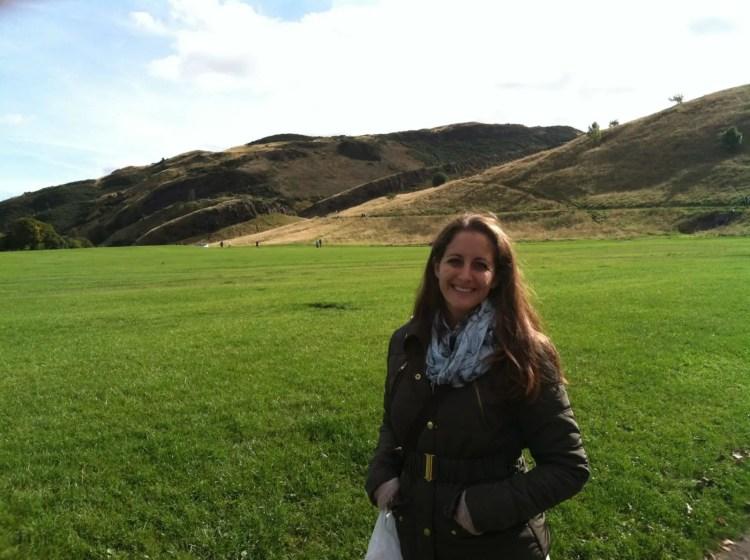 Amanda Walkins expat in Holyrood Park Edinburgh Scotland