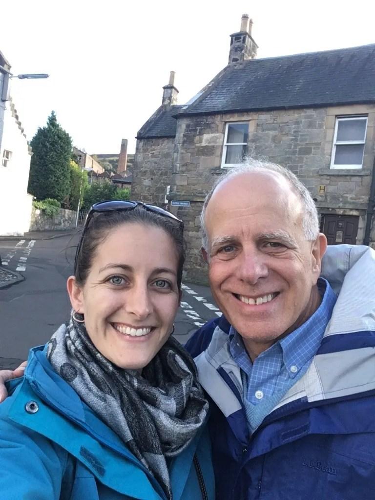 Amanda Walkins and Dave Walkins in Falkland Scotland Outlander film location