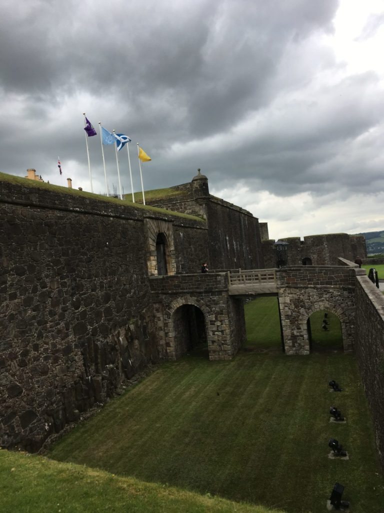 Stirling Castle entry on a dark Scottish day