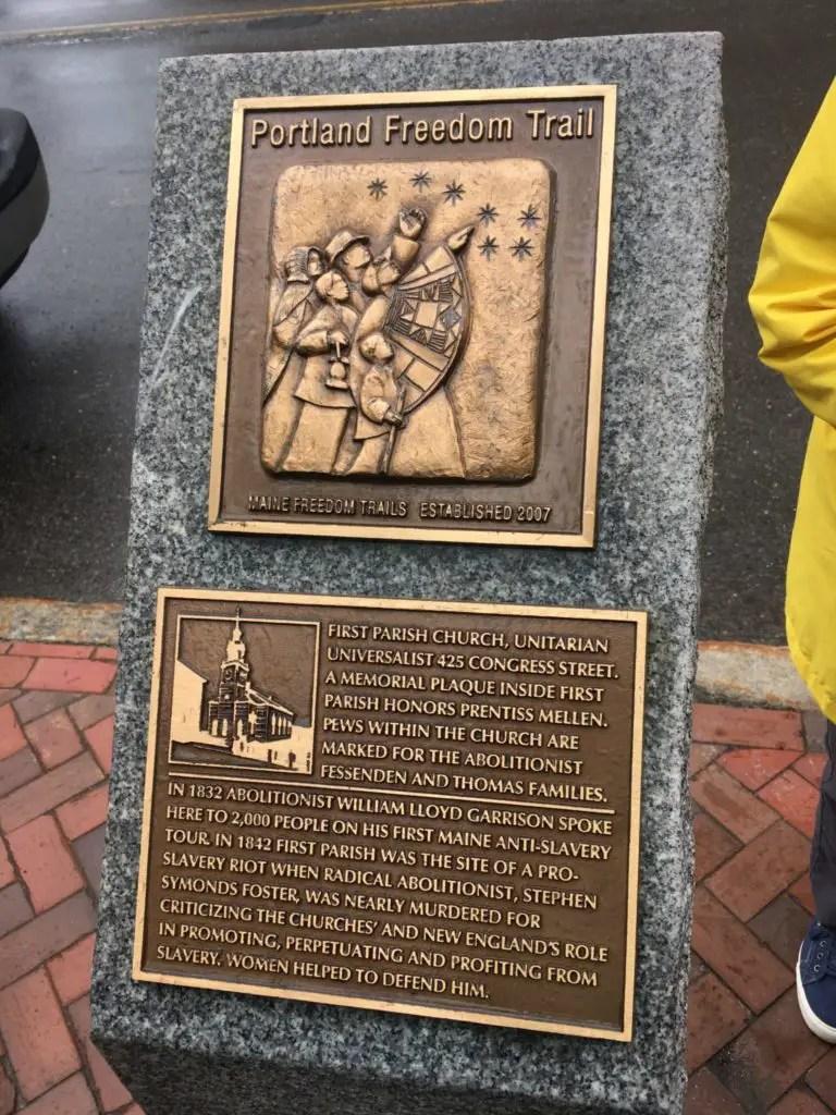 Portland Freedom Trail plaque