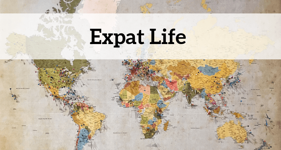 Expat life header image of a world map