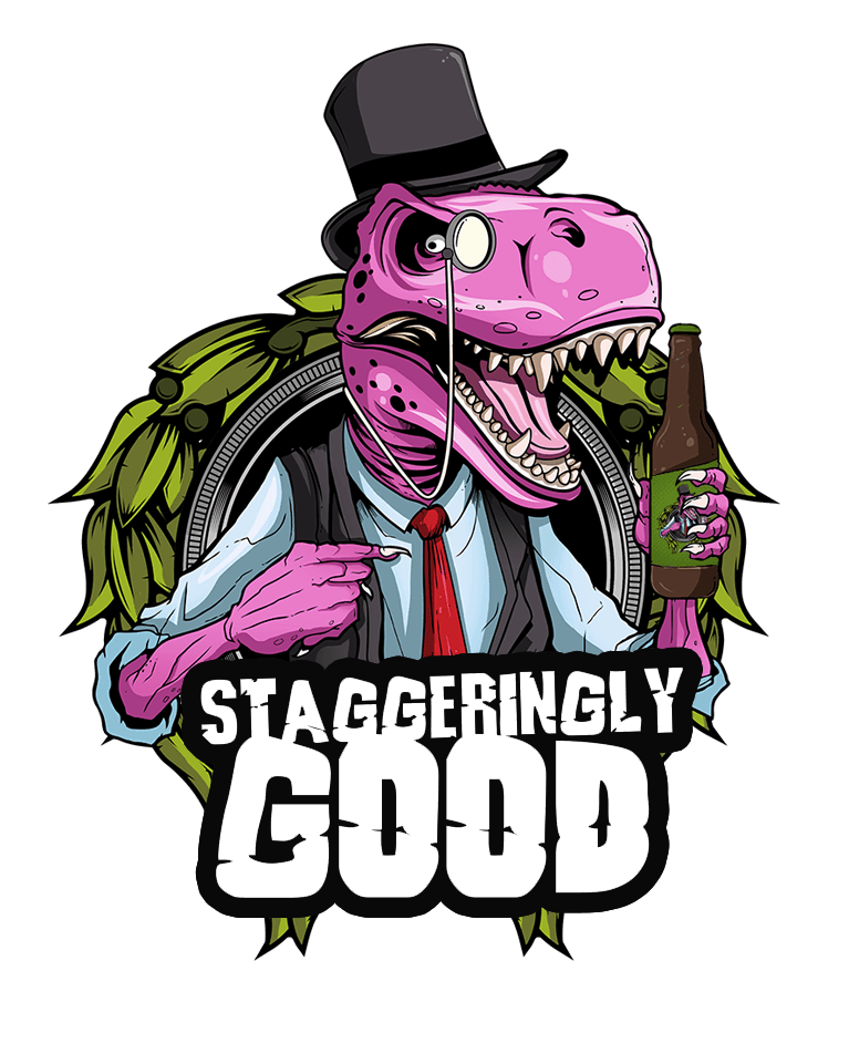 Staggeringly Good Brewery logo dinosaur wearing a tophat and monocle with a beer
