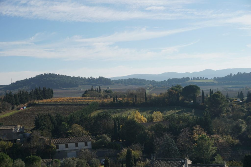 Winter travel in Southern France offers views of quiet vineyards and rolling hills still covered in green