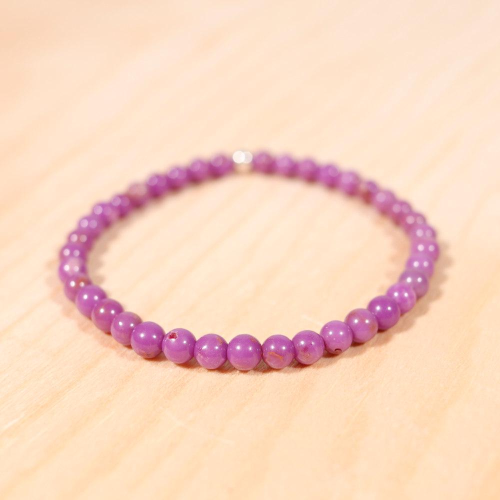 Bracelet en phosphosidérite, perles de 4 mm