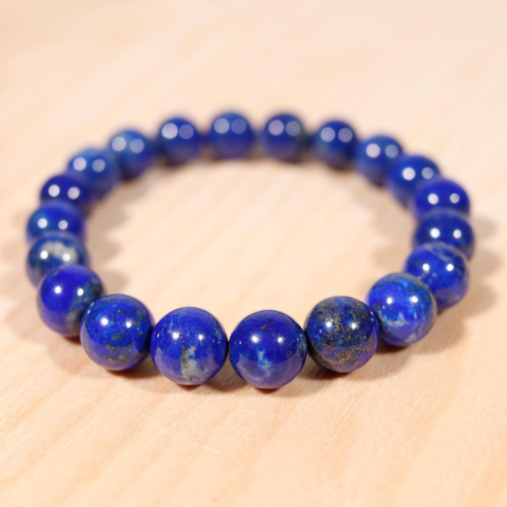 Bracelet en lapis-lazuli, 10 mm