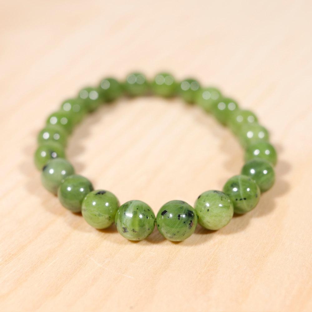 Bracelet en jade néphrite, perle en 8 mm