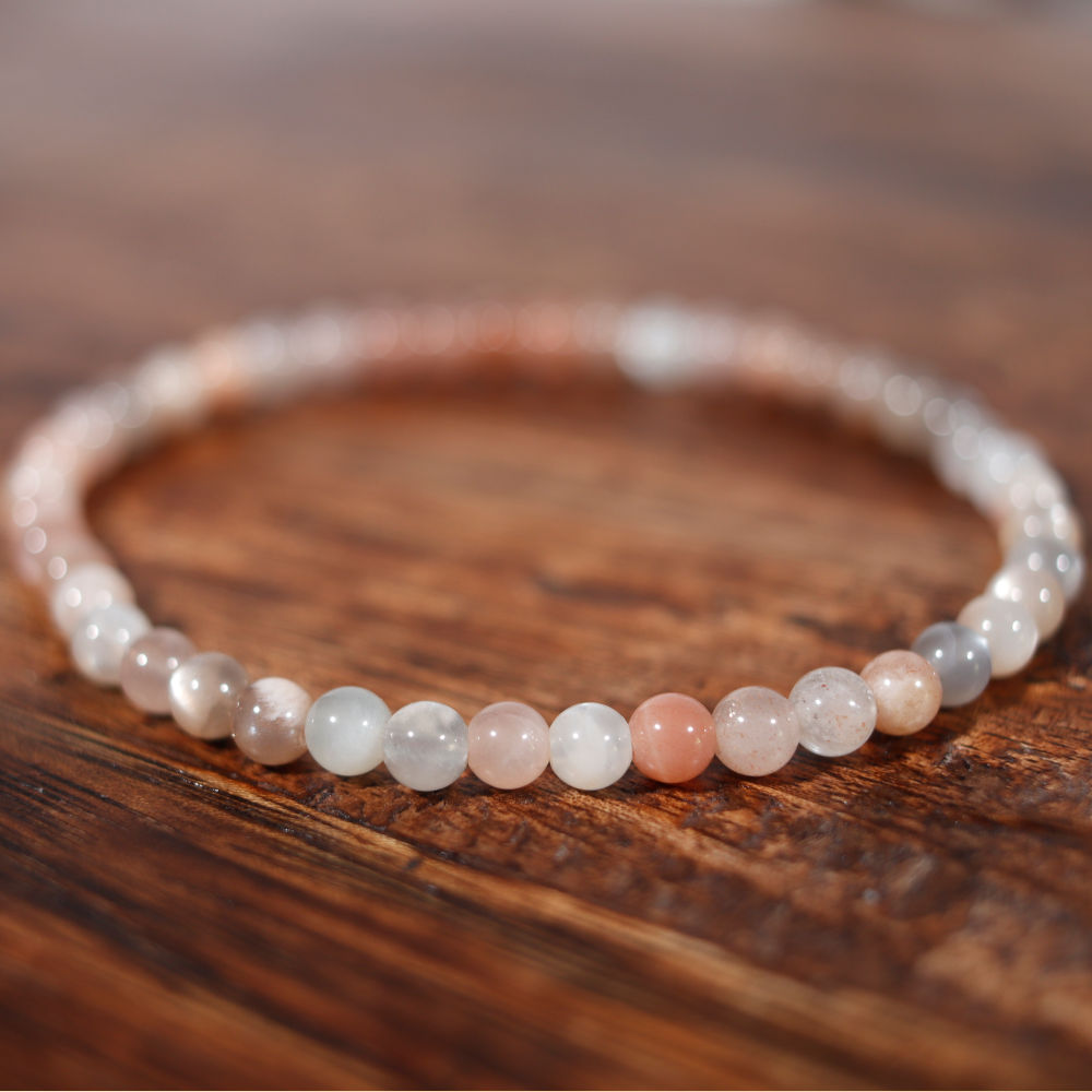 Bracelet en pierre de lune multicolore, perle de 4 mm