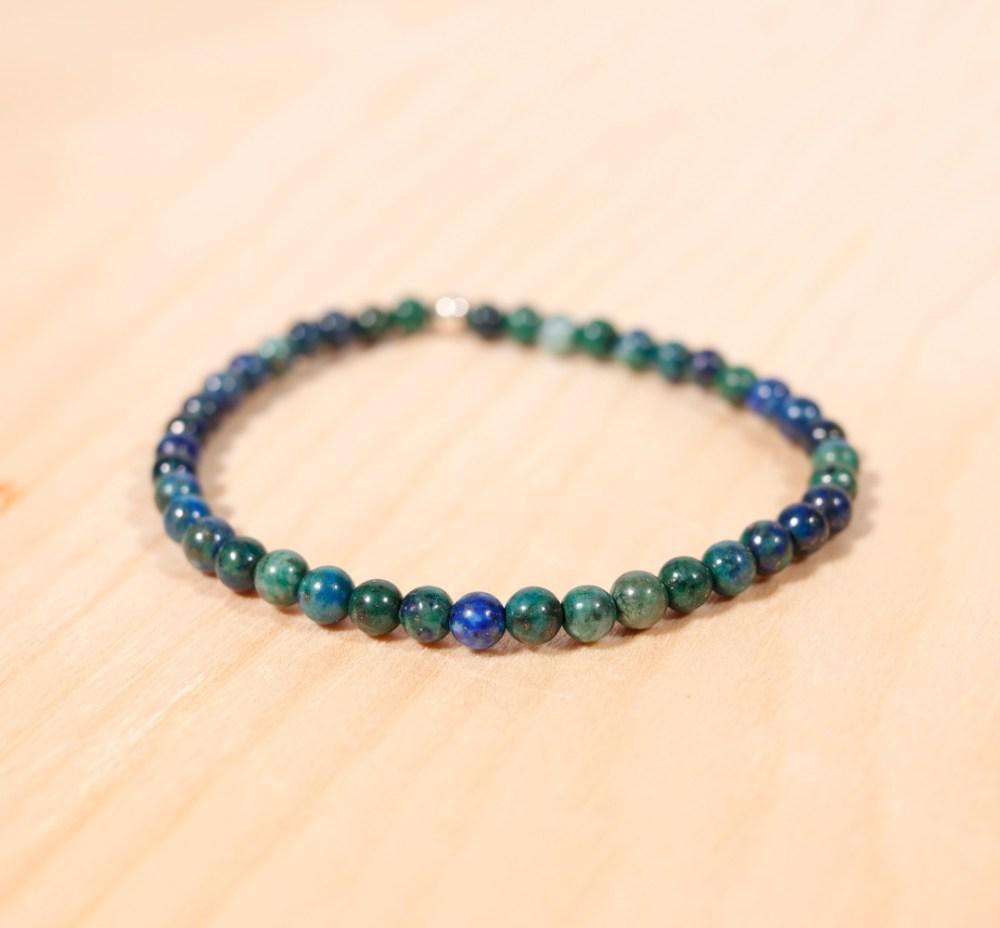 Bracelet en azurite-malachite, 4 mm