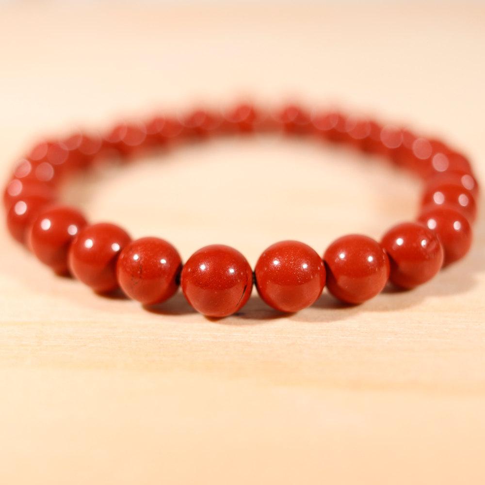 Bracelet en jaspe rouge, de 8 mm