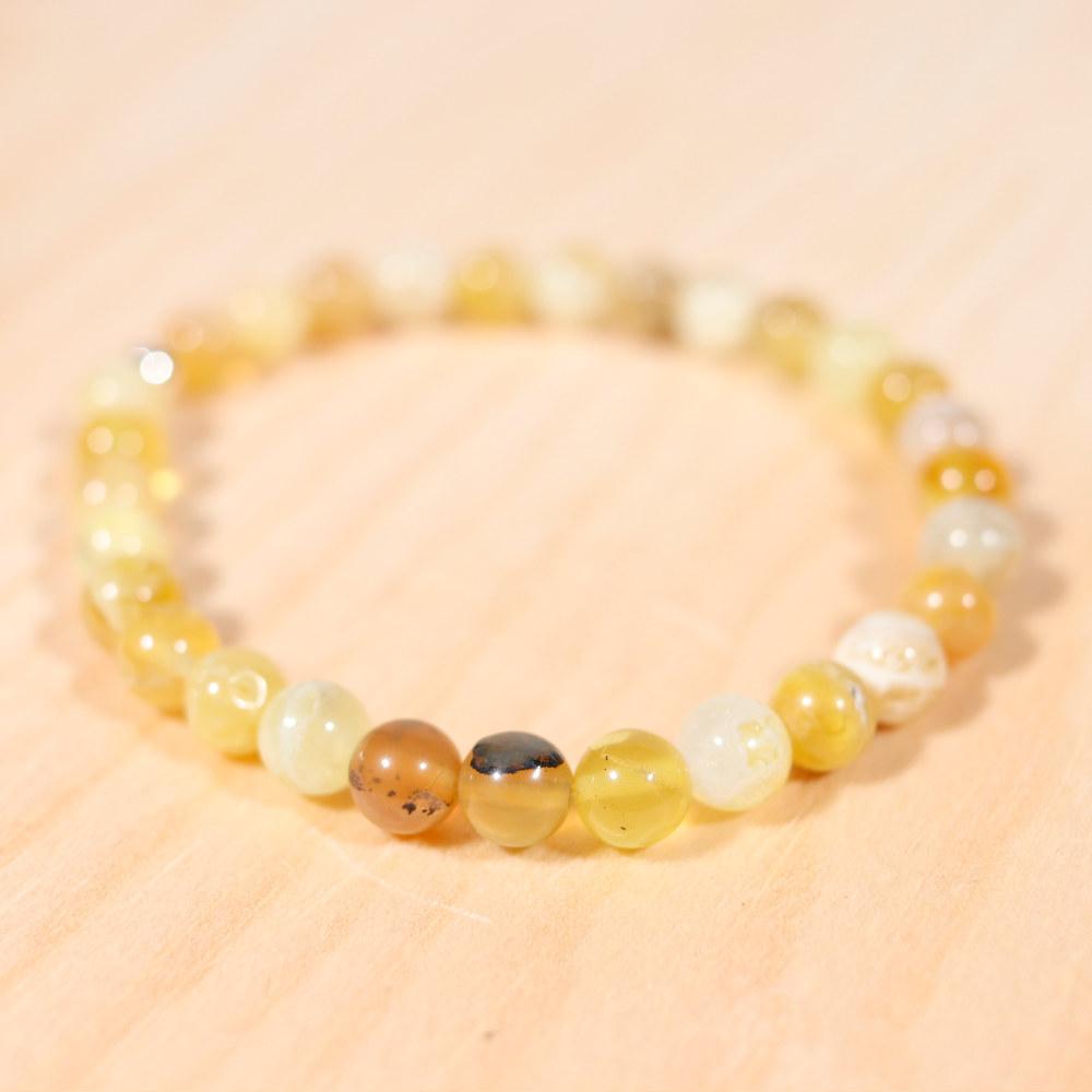Bracelet en opale jaune, perle en 6 mm