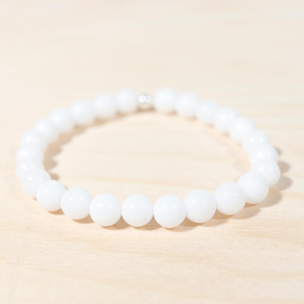 Bracelet en jade blanc, 6 mm