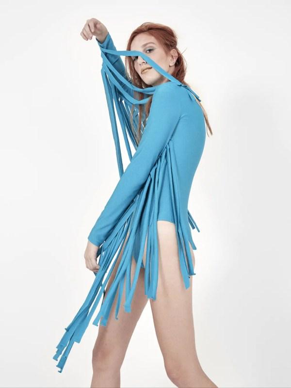 Body em lycra azul