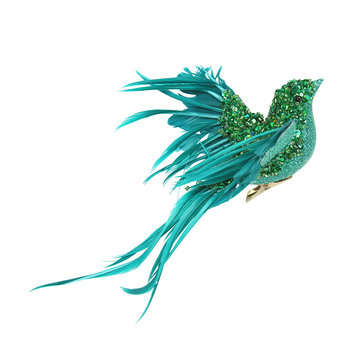 Turquoise Feather Flying Bird Christmas Tree Decoration