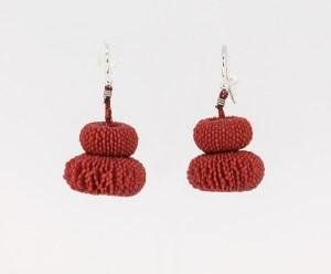Tzuri Gueta. pendientes artesanales , earring, ゴールド ,Plata , Silver, silicon, red, Artesanía, design jewelry, crafts, hecho a mano. silicona roja