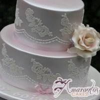 Two Tier with Lace Cake - Amarantos Designer Cakes Melbourne