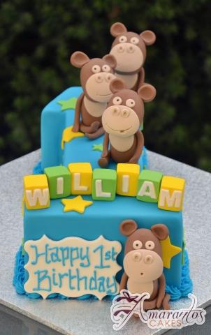 Number One with Monkeys Cake - Amarantos Designer Cakes Melbourne