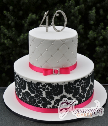 Two Tier Designer Black and White Cake with Ribbon - Amarantos Designer Cakes Melbourne