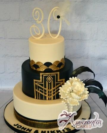 Three Tier Gatsby Cake - Amarantos Cakes Melbourne