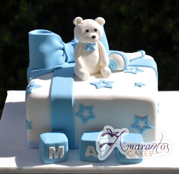 Baby Boy Teddy Bear Cake - Amarantos Designer Cakes Melbourne