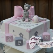Square with Teddy and Rattle Cake - Amarantos Designer Cakes Melbourne