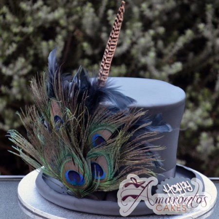 Custom masquerade themed top hat with feather cake - Amarantos Cakes Melbourne