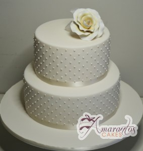Two Tier With Beads and Flower Cake - Amarantos Designer Cakes Melbourne