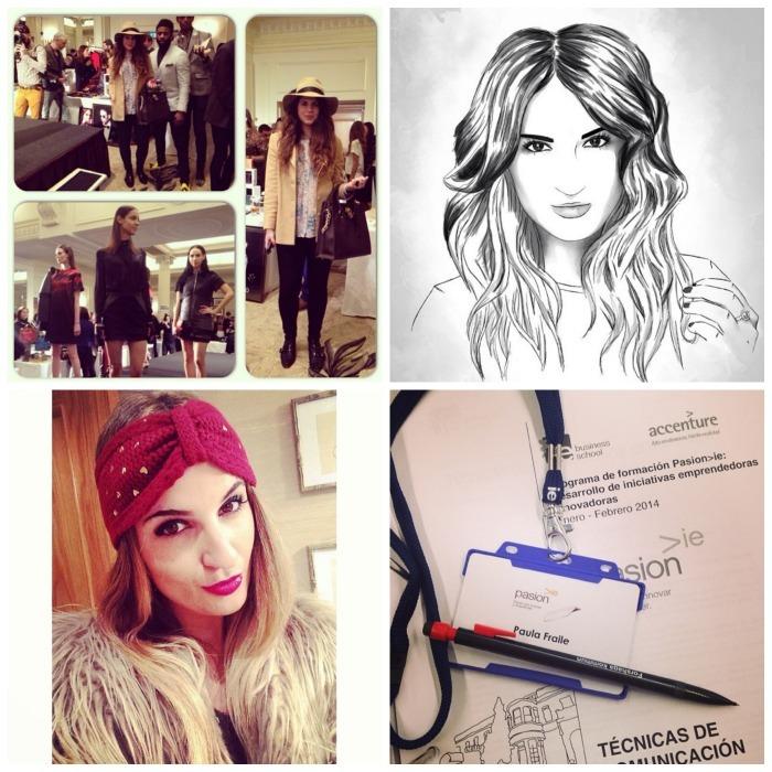 Mi sister Elena en Londres en el evento en la London Fashion Week de @Wolfandbadger 2. Preciosa ilustración de Lorea Domaica 3. Lista con mi turbante de Zalando para ir al concierto de Michael Bublé 4. En el curso de #PasionIE en IE Business School