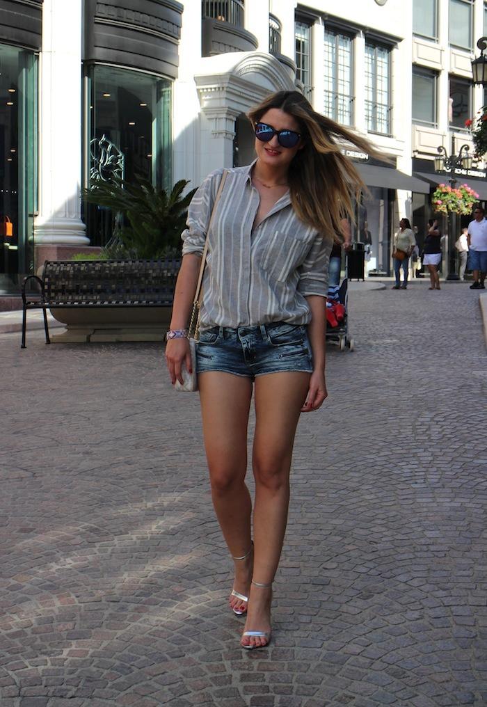 rodeodrive amarás la moda camisa de rayas sandalias plata zara michael kors bag 6