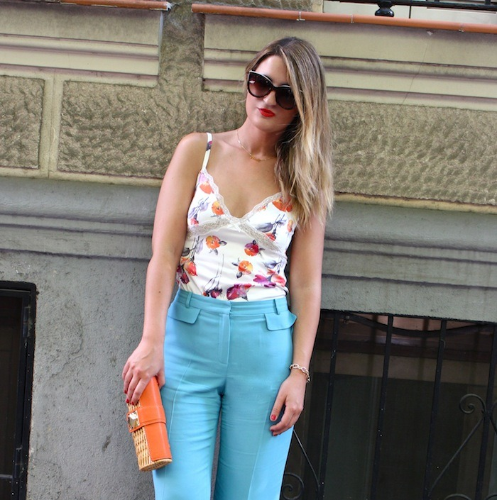 palazzo pants Angel Schlesser dolce and gabanna top clutch Michael Kors sunnies Amaras la moda 5