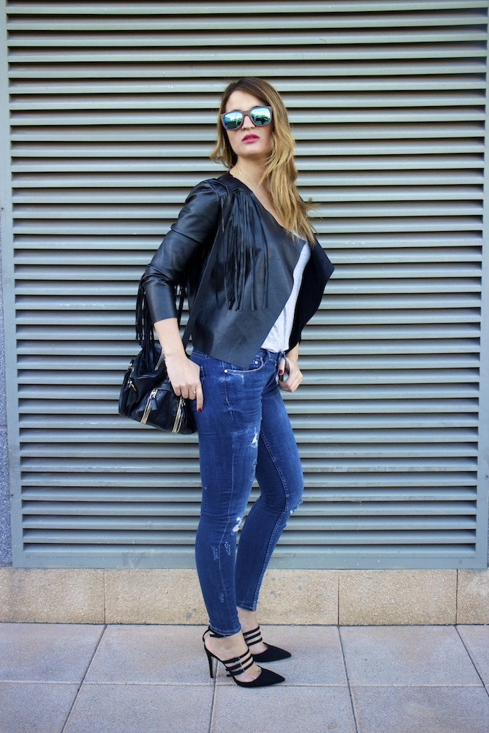 boohoo fringed jacket Prada bag Zara jeans shoes hysteresisofficial sunnies amaras la moda 5