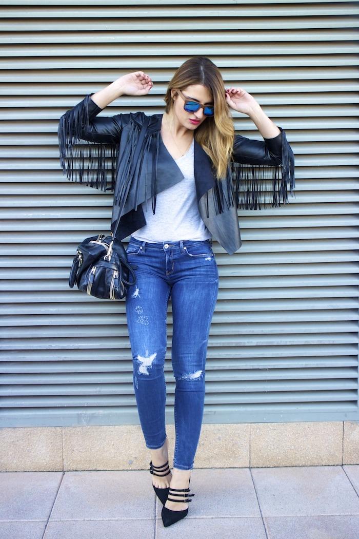 boohoo fringed jacket Prada bag Zara jeans shoes hysteresisofficial sunnies amaras la moda