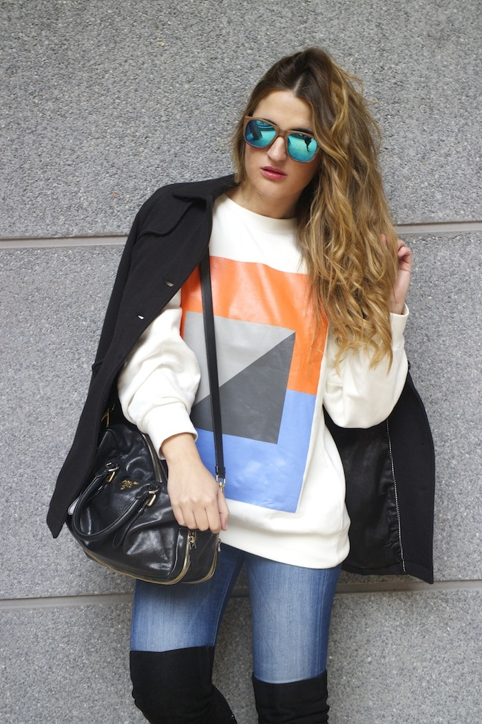 sudadera Zara abstracta botas pilar burgos prada bag amaras la moda 10