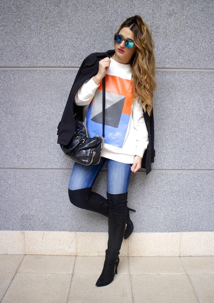 sudadera Zara abstracta botas pilar burgos prada bag amaras la moda 11