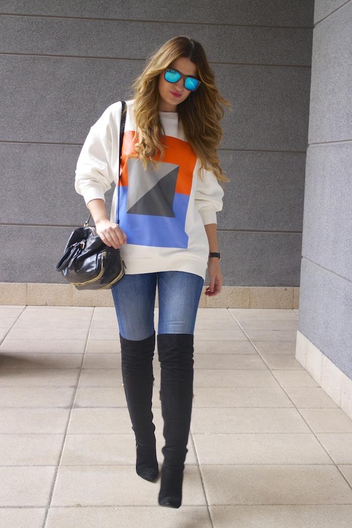 sudadera Zara abstracta botas pilar burgos prada bag amaras la moda 2