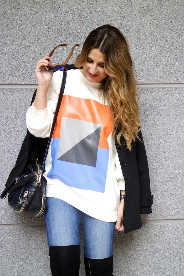 sudadera Zara abstracta botas pilar burgos prada bag amaras la moda 8