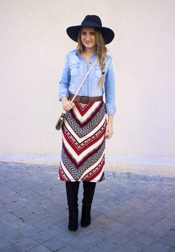 tribal skirt denim shirt boots louis vuitton bag amaras la moda 7