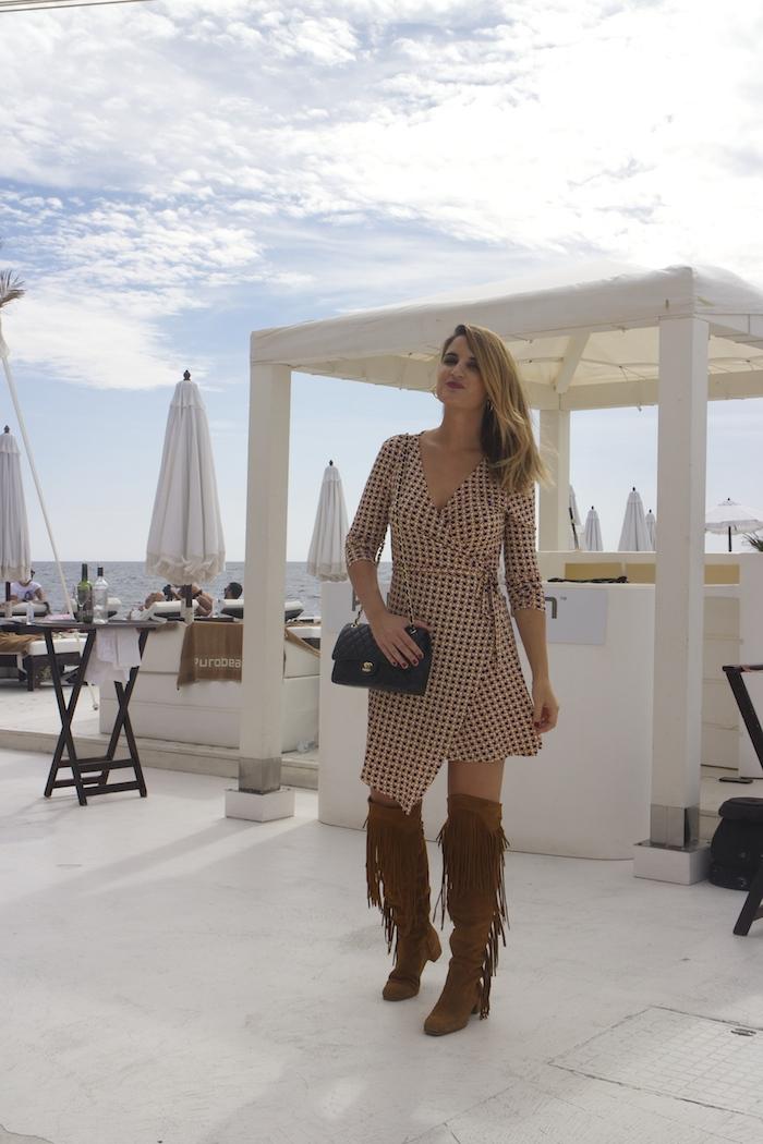 justfab dress amaras la moda zara boots chanel bag Puro Beach Palma de Mallorca Paula Fraile 6