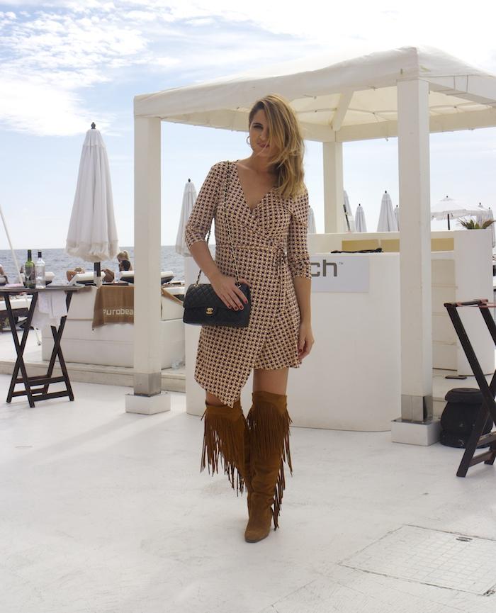 justfab dress amaras la moda zara boots chanel bag Puro Beach Palma de Mallorca Paula Fraile