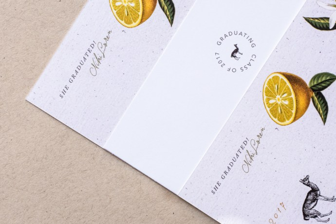 Custom Invitation Design for Llamas & Lemons Graduation Announcement Suite by Amarie Design Co.