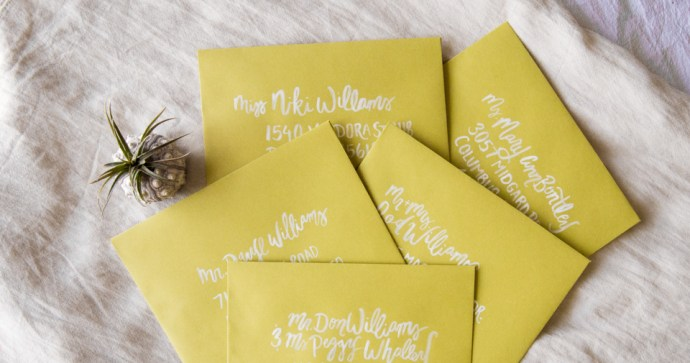 Custom Invitation Design and Brush Lettered Envelope Addresses for Llamas & Lemons Suite by Amarie Design Co.