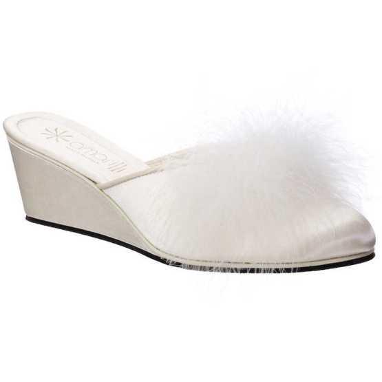 Pantofole da Sposa Beatrice Avorio con Marabou