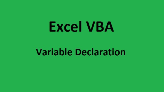 Excel VBA Variables