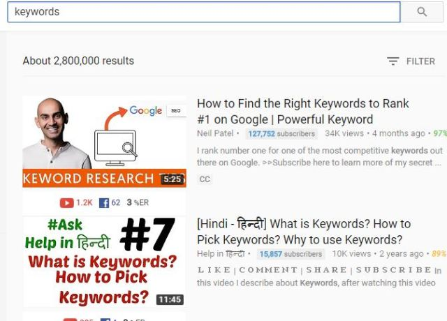 long tail keywords for Youtube #1